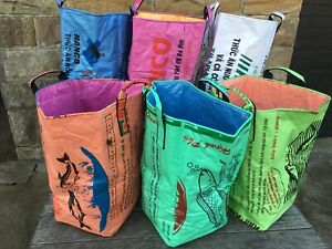 Recycled Laundry Basket made from Recycled Fish Feed Bags in Cambodia Fair Trade