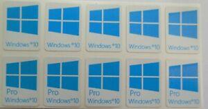 5 x Windows 10,  Pro Sticker Badge Logo Decal for laptop PC - HD Quality (cyan)