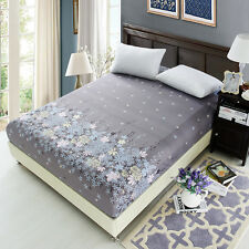 Floral Printed Fitted Sheet Queen King Bed Sheets Cover Cotton&Polyester