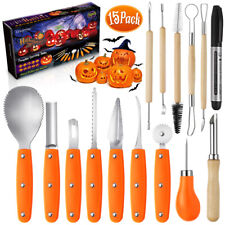 15 Pack Halloween Pumpkin Carving Tool Kit Heavy Duty Knife Sets Jack-O-Lantern