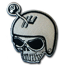 Skull Helmet No. 8 Patch Iron on Harley Racing Biker Rider Motorcycle Vest Rock