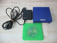 L759 Nintendo Gameboy Advance SP console Azurite Blue & Adapter Japan GBA