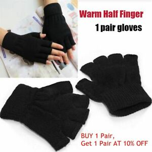 Knitted Stretch Warm Half Finger Fingerless Gloves Black Handwear Hand Warmer