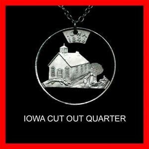 IOWA State Quarter Hand Cut Coin Necklace  Pendant Schoolhouse Teacher