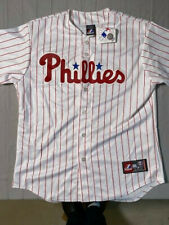 Men's Large Philadelphia Phillies Majestic White/Scarlet Baseball Team Jersey