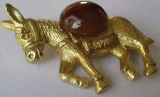 broche bijou vintage baudet relief cabochon pierre naturelle couleur or 360
