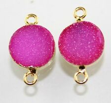 Seasonal Sale Lavish Pink Sugar Druzy Gold Plated Connector Making Jewelry D4324