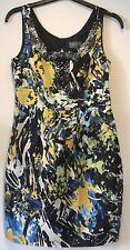 Et Vous Ladies Sleeveless Black Yellow Blue White Dress Size 12 Jewelled Detail