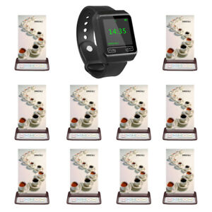 SINGCALL Wireless Calling System 1 Wrist Watch Receiver 10 Buttons for Cafe, Bar