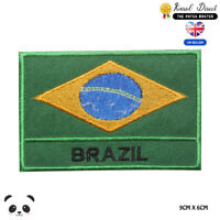 Brazil National Flag With Name Embroidered Iron On Sew On Patch Badge
