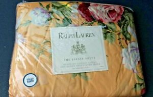 NEW Ralph Lauren KATHLEEN Queen Yellow Red Floral Deep Fitted Sheet Italy USA