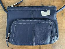 Tignanello Blue Pebbled Leather Crossbody Organizer Shoulder Bag Travel