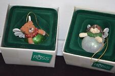 2 RUSS Angel Dog Ball Ornaments WAGS TO WHISKERS Too Cute!!