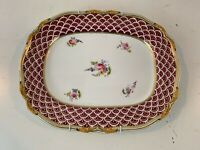 Antique Old English Porcelain Large Serving Tray w/ Floral and Gilt Decorations