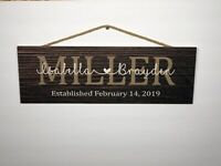 """Personalized Family Name  Rustic Wood Sign, P144, Gift, Birthday, 6""""x18"""""""
