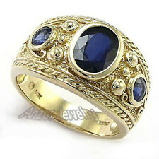 Men's Ceylon Sapphire Ring 14k Yellow Gold Etruscan Byzantine Style Ring