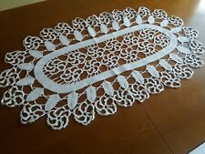 """Beautiful Vintage Handmade Oval Crochet Lace White Tablecloth Runner 29""""x17"""""""