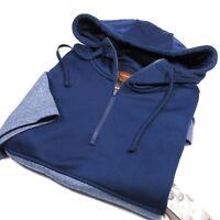 FOUNDRY Mens Hoodie/Sweatshirt Half-Zip Short Sleeve Navy Blue Size LT