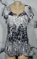 APT. 9 Gray Black Patterned Top Large Studded Accent Flutter Short Sleeves