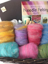 Needle Felting Starter Kit Hamper 250g Hand Dyed Shetland Carded Wool Blends