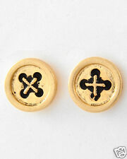 Urban Trend Antiqued Gold Small Button Post Minimal Minimalist Earrings NEW