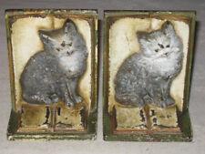 Antique Bradley Hubbard Cast Iron Cat Kitten Book Statue Bookends Hubley B&H Usa