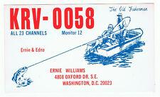 Old Bass Fishing Postcard QSL Card Amateur CB Ham Radio Washington DC Motor Boat