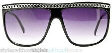 FLAT TOP Retro Celebrity Style Sunglasses Black Silver Chain 80s Lady Video HOT