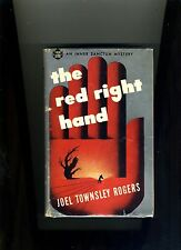 THE RED RIGHT HAND-JOEL TOWNSLEY ROGERS 1945 RARE 1ST IN DJ-GREAT CULT THRILLER
