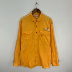 Vintage World Wide Sportsman Mens Yellow L/S Vented Fishing Shirt Sz L Large