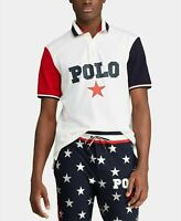 Polo Ralph Lauren White / Star Flag Print Americana Rugby Polo Shirt