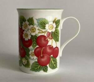 CROWN TRENT CHINA MUG CUP CHERRIES CHERRY BLOSSOMS STAFFORDSHIRE ENGLAND