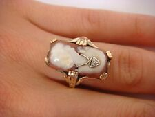 14K YELLOW GOLD ANTIQUE CAMEO LADIES RING WITH SMALL DIAMOND, SIZE 6.5