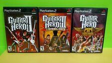 Guitar Hero 2 II, Legends of Rock 3 III, & Aerosmith - Playstation 2 PS2 Games
