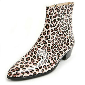 """Men's glossy leopard brown side zip hand made 1.77"""" cuban heels ankle boots"""