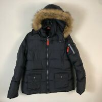Andrew Marc New York Down Jacket L Black Quilted Puffer Faux Fur Winter Parka