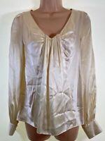 LK BENNETT ivory cream 100% SILK long sleeve blouse top size 8