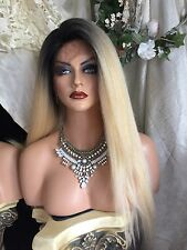 Stunning Human Hair Blend, Soft Swiss Lace Front,Long  Rooted Blonde, THICK Wig!