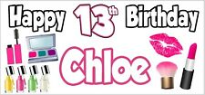 2 PERSONALISED Pamper Make Up 13th Birthday Banners Party Decorations Teenager