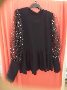 Ladies Black Top Size 16 Long Sleeve Flowing Detail
