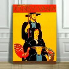 "VINTAGE TRAVEL CANVAS ART PRINT POSTER - Pennsylvania Family - 18x12"""