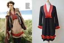 REBECCA THOMPSON *Black* Wool Red Embroidered Ethnic Boho Gypsy Dress 1/10 $417