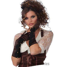 A997 Steampunk Brown Scalloped Gloves Goth Victorian Halloween Costume Accessory