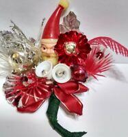 Vtg Christmas Corsage SANTA Mercury Glass Red Silver Sugar Bells package tie