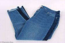 7f5e18f2483 Women within 20W Tuxedo Stripe Skinny Ankle Jeans Frayed Hem Lower Rise New  7803