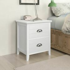 Bedside Cabinet / Telephone Stand with 2 Drawers White Set of 2