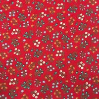 "Fabric 1 Yard 44"" Wide Floral Red Brown Green Orange Blue Quilting Cotton #4V34"