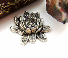 ~ Oxidized Jewelry Finding (Ca-3050) Antique Silver Retro Lotus Flower Stamping