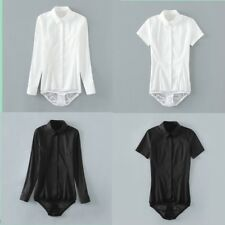 Women Bodysuit Shirt Work Blouse Button Down Short Long Sleeves Top Cotton White