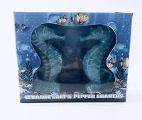 Aquarium Ceramic Salt And Pepper Shakers Teal Aqua Blue New